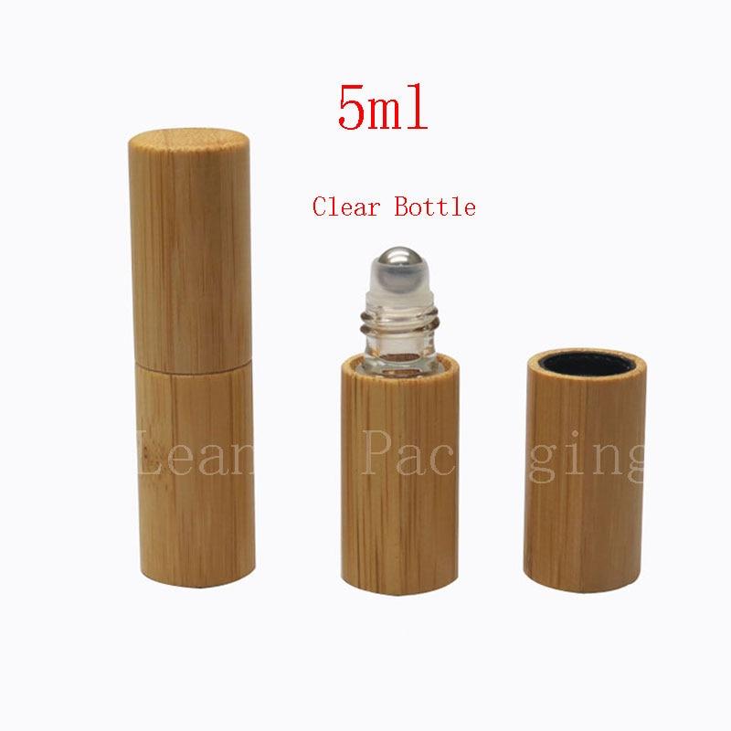 50pc Lot 5ml Bamboo Roll On Perfume Glass Bottle Eyecream