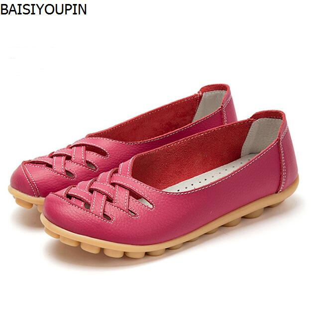 2018 Leather Women Flats Shoes Seoul Hollow Soft Slip on Casual Shoes Woman Fashion Loafers Ladies Shoes Plus Size 42 Zapatos vintage embroidery women flats chinese floral canvas embroidered shoes national old beijing cloth single dance soft flats
