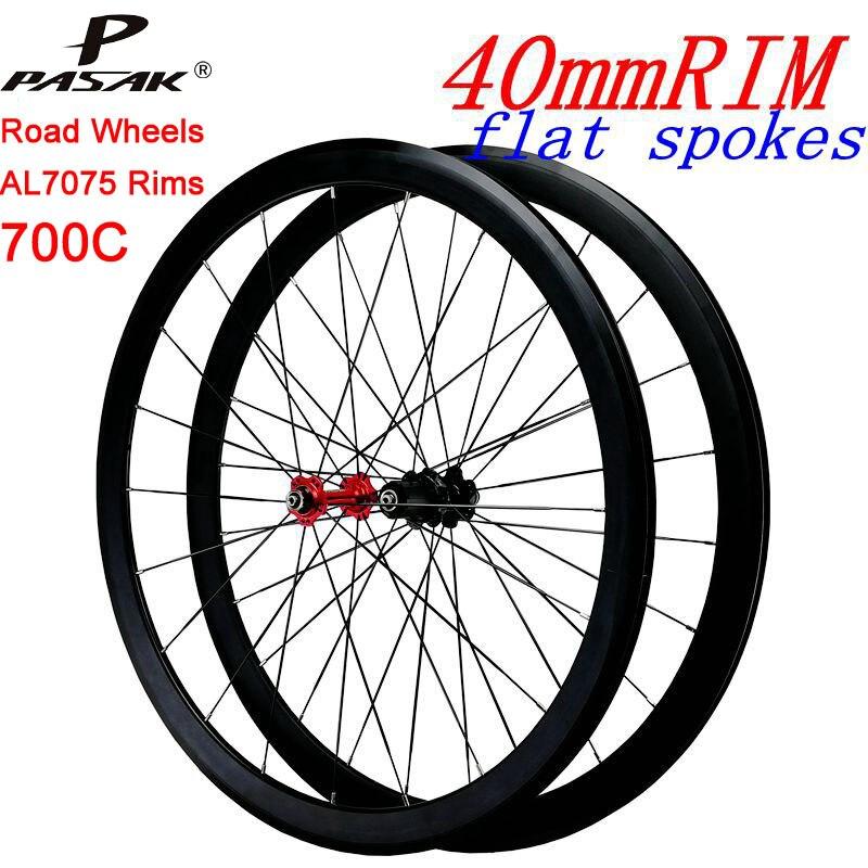 700C vélo de route Roues Ultra-léger En Aluminium Quatre-Roulement Plat Rayons 3.0 Racing 40 Jantes Vélo De Route Roue 8-9-10-11-12s cassette