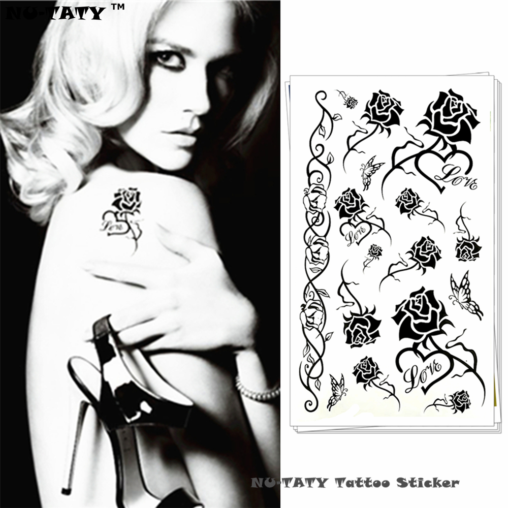 Nu-TATY Temporary Body Art Black Rose Temporary Body Art Flash Tattoo Sticker 10*17cm Waterproof Henna Fake Tattoo Sticker