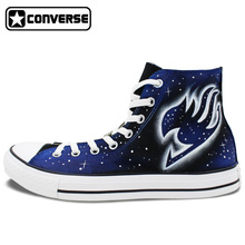 Galaxy Anime Fairy Tail Design Hand Painted Shoes Man Woman Converse All Star High Top Skateboarding Shoes Women Men Sneakers