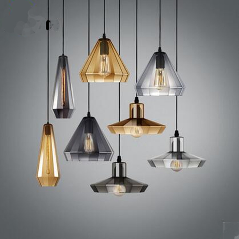 Creative Vintage Handmade 3 Colors Plated Crystal Glass Led E27 Pendant Light for Dining Room Restaurant Living Room Lamps 1446 creative fashion plated glass 3d led e27 pendant light for dining room living room restaurant bar glass pendant lamps 1483