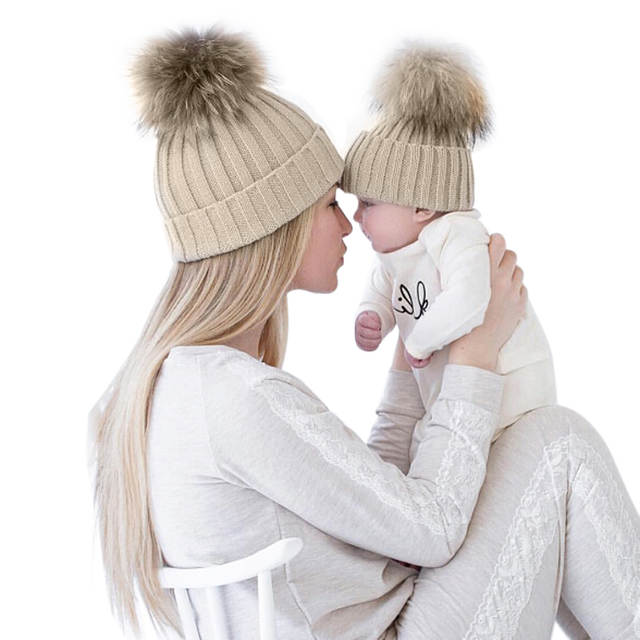 f47aeec74 US $7.08 20% OFF|2 PCS Mom Baby Hat Warm Raccoon Fur Bobble Beanie Cotton  Knitted Parent child Winter Hat Color Winter Hats for Baby Pompom Cap-in ...
