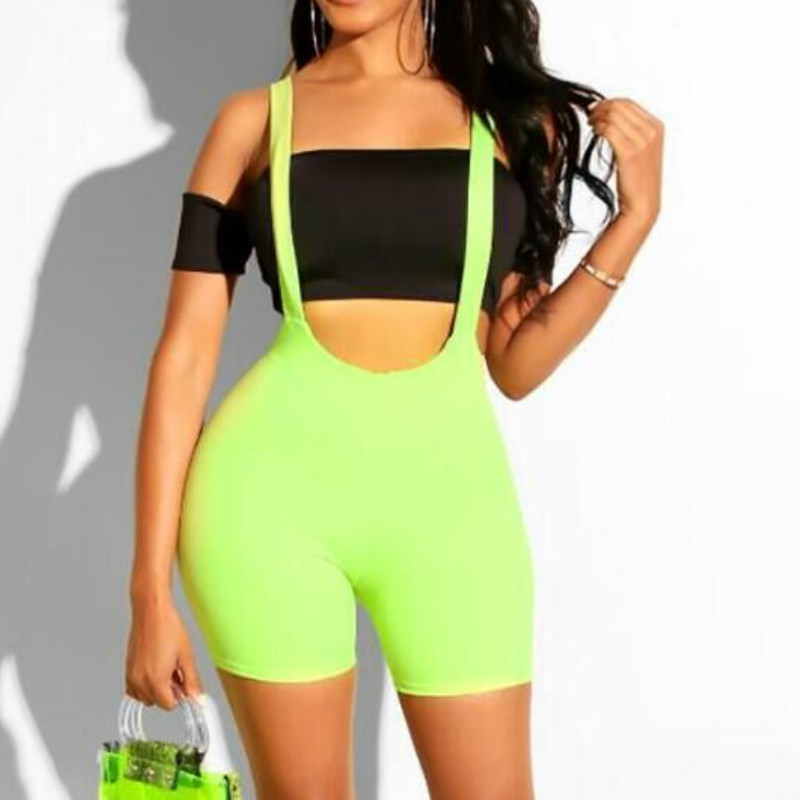 Women High Waist Shorts Suspender Girl Slim Fit Overall Shorts Bodycon Trousers Booty Shorts