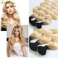"Brazilian Dark Root Blonde Hair Body Wave 3pcs Two Tone 1b 613 Virgin Hair 8""-28"" Ombre Brazilian Hair"