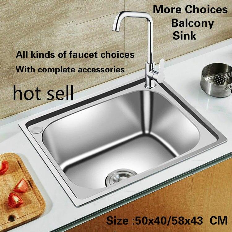 Livraison gratuite ménage mini balcon cuisine évier petit durable 0.8mm 304 acier inoxydable vente chaude 500x400/580x430 MM
