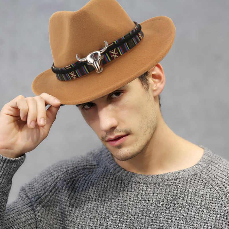 Mannen Vrouwen Retro Vilt Cap Western Cowboy Brede Rand Cap TS95
