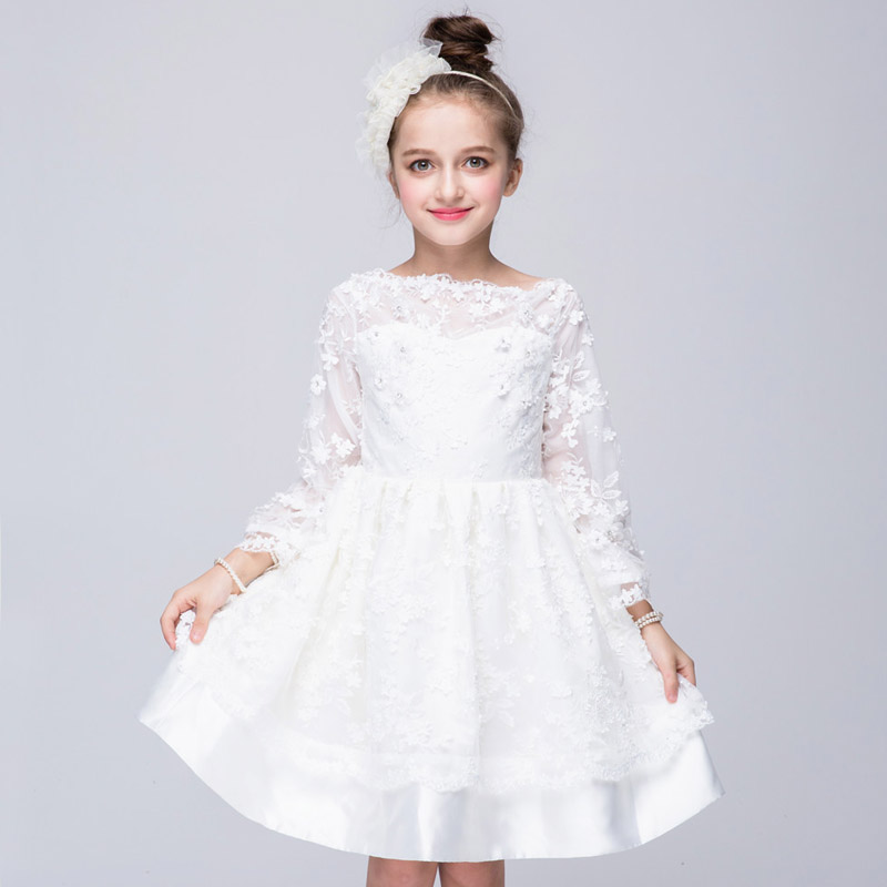 Kids Princess Dress Baby Diamond Flower Decoration Lace Tutu Girls Dresses Children Cute Sweet Party Gown Long Sleeve Clothing 2016 new summer girls kids rose flower princess sleeveless party elegant tutu lace dress cute baby clothes children clothing