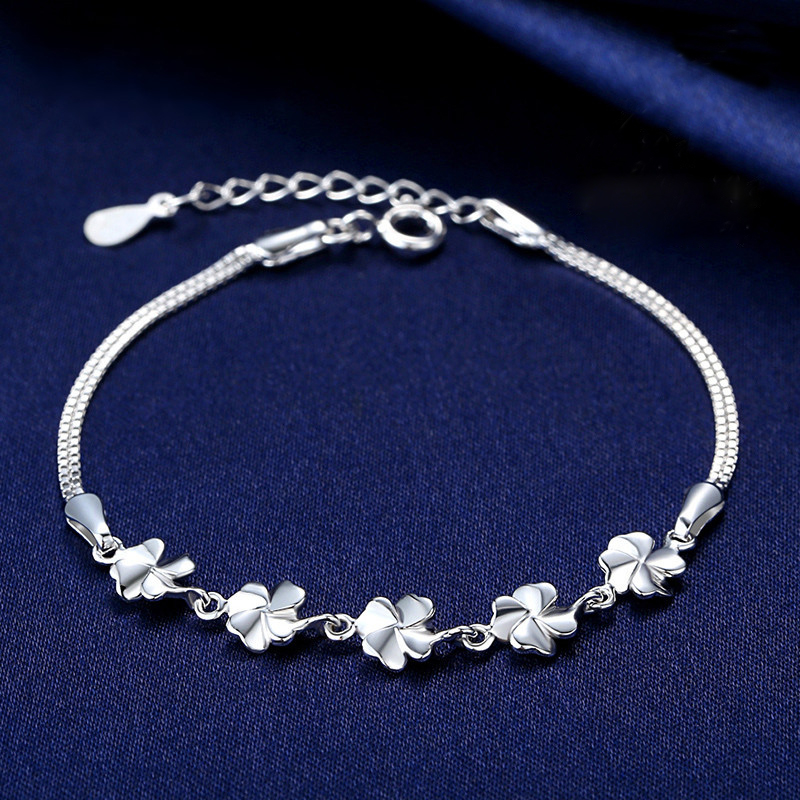 Jemmin Women Flower Bracelets Genuine 925 Sterling Silver Fine Jewelry Bangle Bracelets For Girls Birthday Best Gift