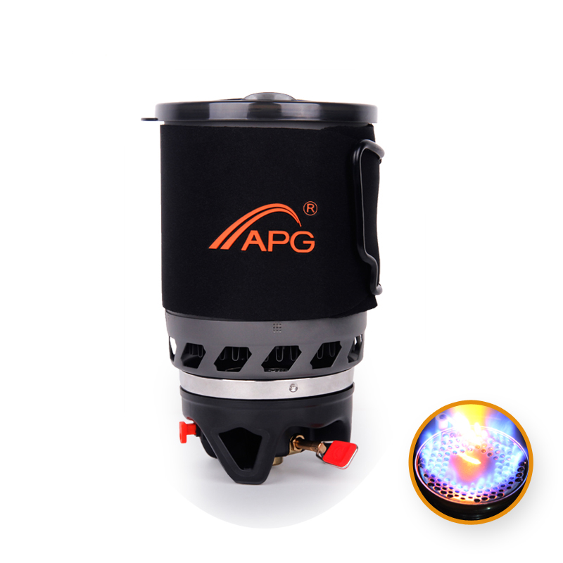 1100ml Camping Gas Stove Heat Exchanger Pot Fires Personal Cooking System and portable Gas Burners Camping Equipment apg 1100ml camping gas stove fires cooking system and portable gas burners