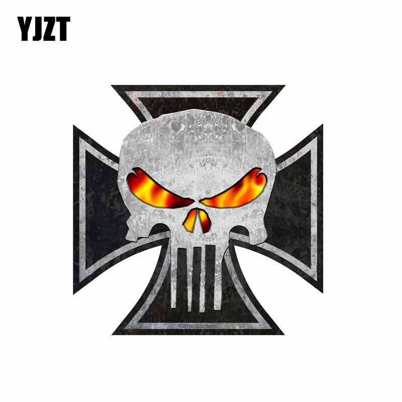 YJZT 11.3CM*11CM Personality Rat Rod Iron Cross Skull Car Sticker Reflective Motorcycle Decal PVC 6-0103
