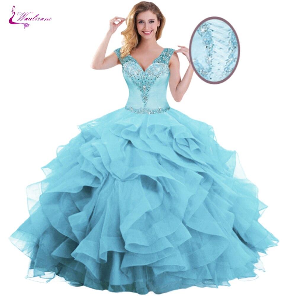 Vestido de Baile Vestido com um Waulizane Doce Quinceanera Elegante Ruffles Organza V-decote Projeto Cor