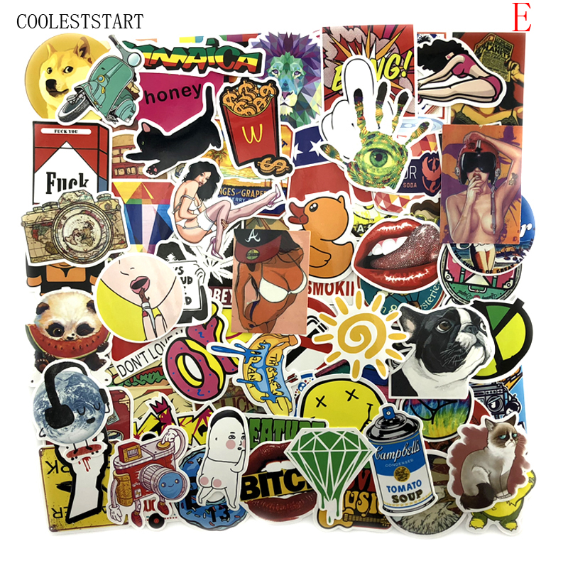 800 Kinds Of Style Selected 100pcs/lot Mixed Stickers For Laptop Sticker Decal Fridge Skateboard PVC Stickers For Travel Suitcas