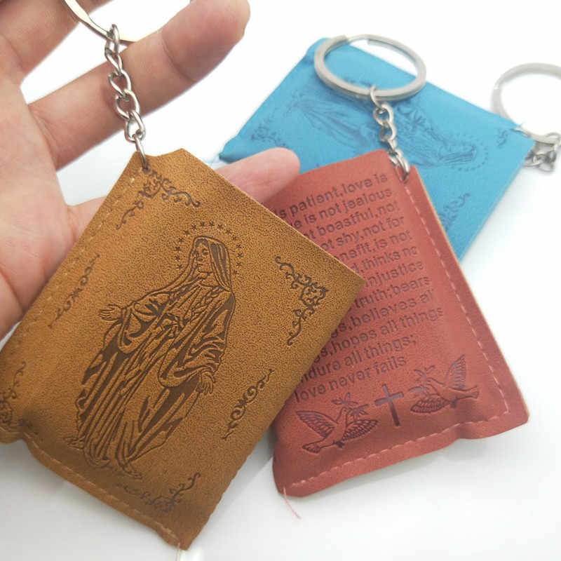 ... Funny Printing Leather Bag Mini Holy Bible Book Pendant English Version  of Christian Keychains Car Ker ... 02012c95dd4e
