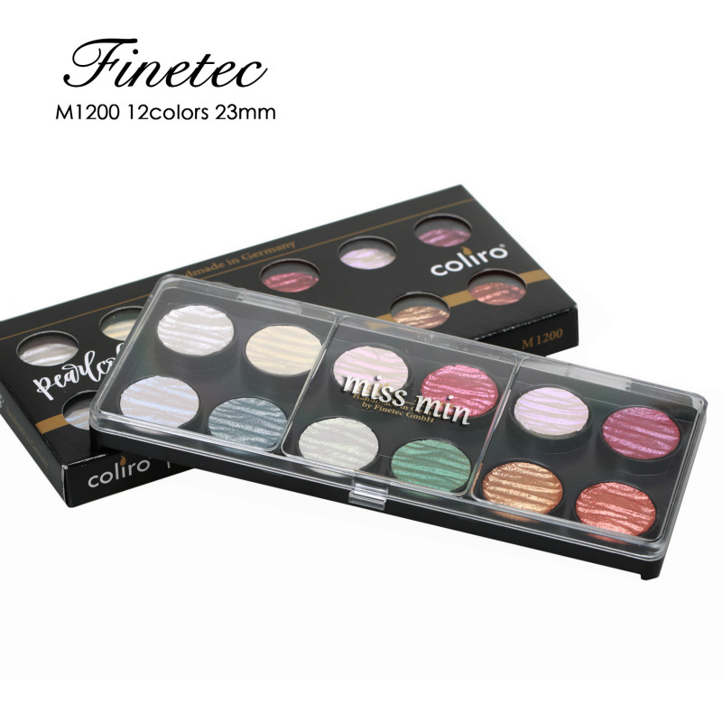 Finetec Pearlescent Watercolor Hand-made Solid acuarelas Water color Pigment 6-colour verf 12-colour aquarela Set In Germany