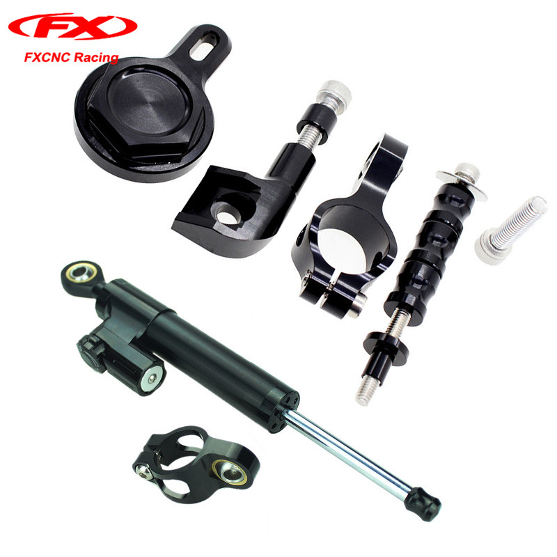 FXCNC Motorcycle Steering Stabilizer Damper with Mounting Brackets For Yamaha YZF R1 1998-2001 1999 2000 Reversed Safety Control пороги rival bmw style hyundai ix35 2010 2013 2015 kia sportage 2010 2014 2015 круг 173 см крепеж 2 шт