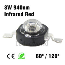 10pcs Infrared Red 940nm 3W High Power LED Chip IR 940Nm 60 degree or 120 degree LED Beads for Night Camera