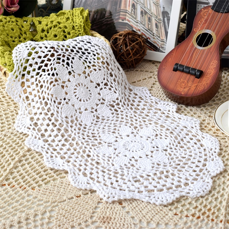 Modern lace oval cotton crochet placemat cup mug tea coffee coaster kitchen dining table place mat doily wedding drink glass pad