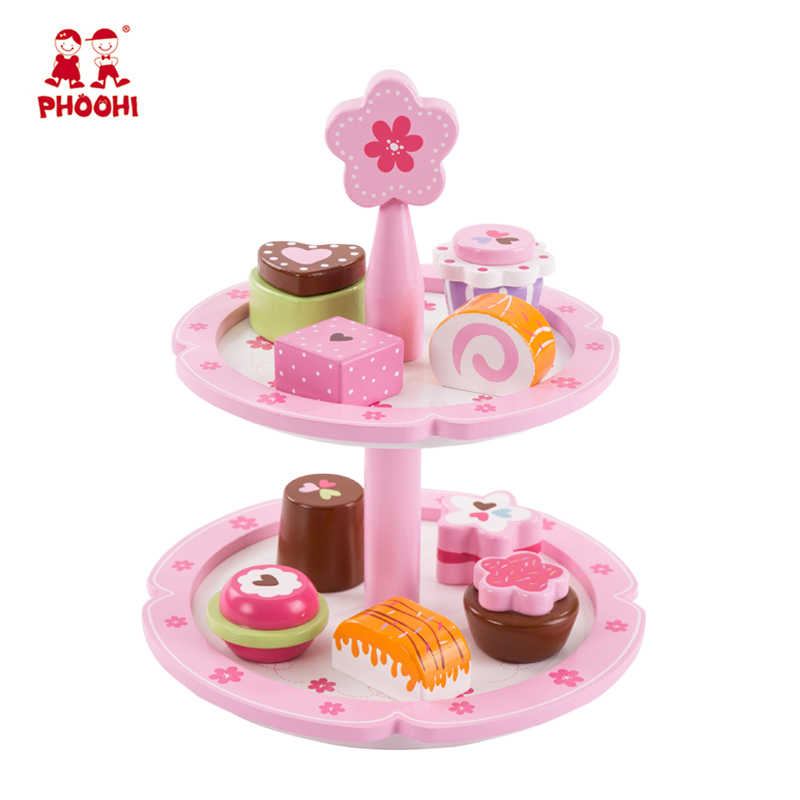 Wooden Cake Stand Toy Children Pretend Kitchen Play Toy Kids Simulation Food With 9 Cakes PHOOHI