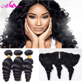 7A Malaysian Virgin Hair With Frontal Closure 3 Bundles Malaysian Loose Wave With 13x4 Ear To Ear Full Lace Frontal Human Hair