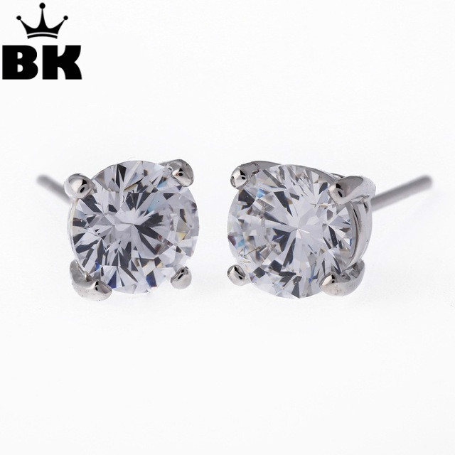 Hip Hop Kite Backs Earrings Iced Out Br With Cz Stone Circle Bling Earring For Men Square Round 6mm 4 Style In Stud From Jewelry