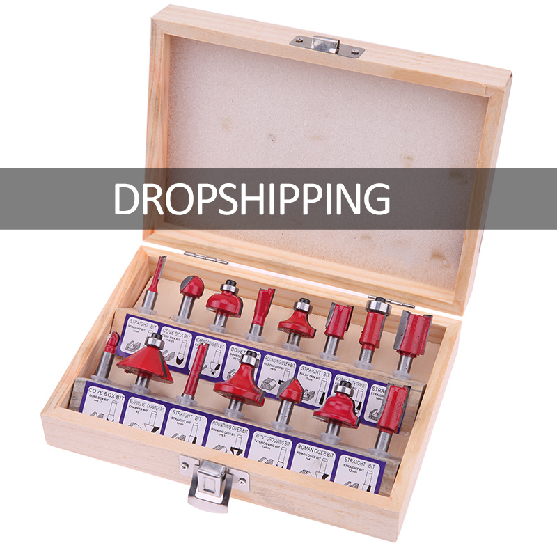 15PCS 1/4 Professional Shank Tungsten Carbide Router Bit Set Wood Case tool kit Milling Cutter Router bit set 6.35mm stylish bracelet zinc alloy band women s quartz analog wrist watch black 1 x 377