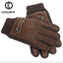 Touch Screen Winter Warm Men's Gloves Genuine Leather Casual