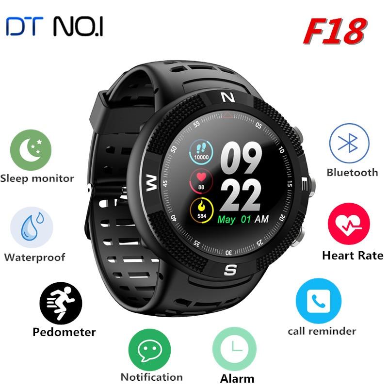 все цены на DTNO.I NO.1 F18 Smartwatch Sports Bluetooth 4.2 IP68 Waterproof Smart Watch GPS Call Message Reminder Pedometer Sleep Monitor онлайн