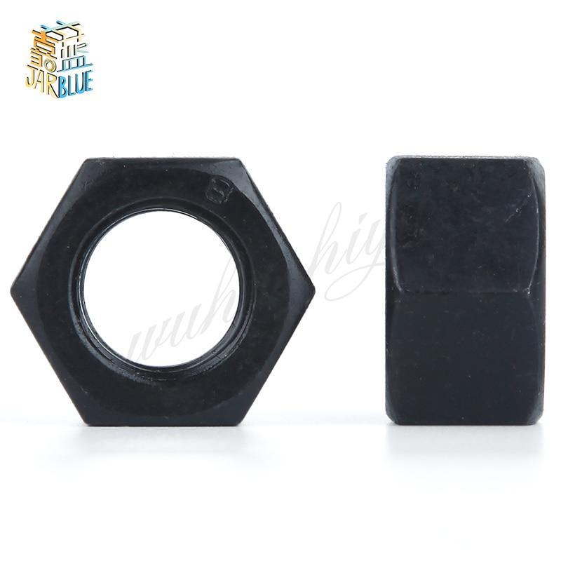 100Pcs M2 M2.5 M3 M4 M5 M6 DIN934 Black Carbon Steel Hex Nut Hexagonal Nuts Grade 8.8 HW044 все цены