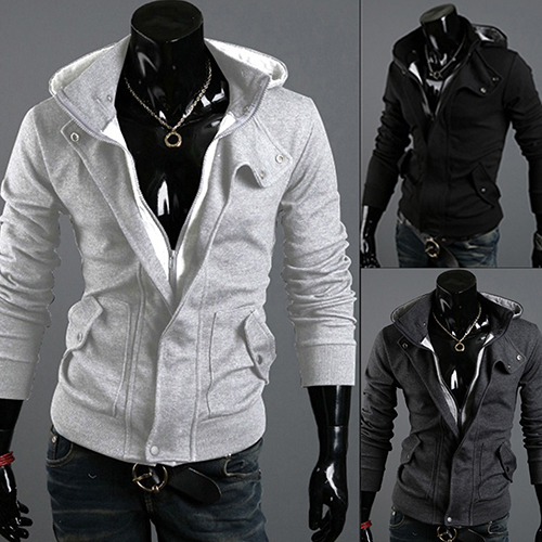 New Arrival Men's Fashion Casual Long Sleeve Slim Zipper Cardigan Hooded Hoodie Jacket Coat