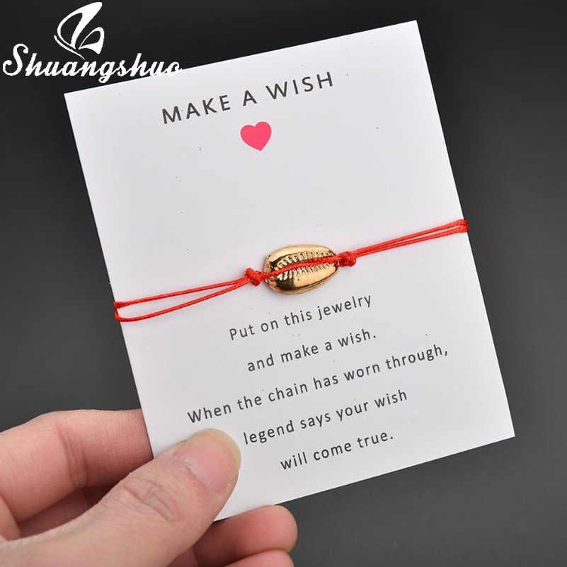 Shuangshuo biżuteria muszle bransoletka dla kobiet Charms bransoletki złoty muszla czarny naszyjnik na lince bransoletka homme femme 2019