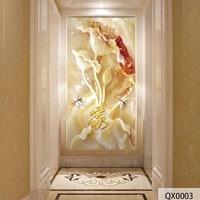 QINGCHUN Custom Printed Fabric Textile Wallcoverings Wall Cloth Jade Flower Lotus Matt Silk Entrance Hallway Corridor