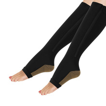 1 Pair Women Slimming Zippered Compression Socks Pantyhose Supports Knee Open Toe Thigh Leg Stocking Nylon