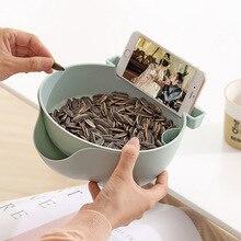 Креативная ленивая Фруктовая тарелка чашка для закусок двухслойная сухая фруктовая Конфета коробка для хранения еды для перекуса тарелка лоток с стентами мобильного телефона