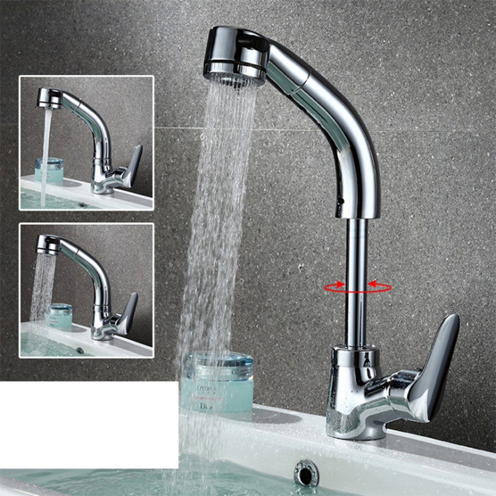 Kitchen Faucets Silver Single Handle Pull-Out Faucet Spray Swivel Kitchen Sink Baked Pull-Down Plumbing Cold Hot Water Tap