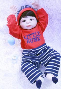 55cm /22'' Full Body Silicone Reborn Baby Doll Toys Play House Newborn Boy Baby Birthday Gift Christmas Present Bathe Toy
