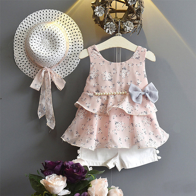 Girls Clothing Sets Sleeveless Beaded Top  + shorts Infant girls outfits kids clothes Floral Vacation suit Beach Holiday Wea(China)