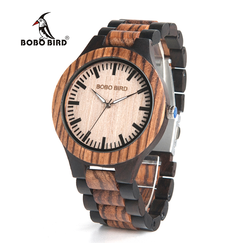 BOBO BIRD Mens Watches Top Brand Luxury Ebony Wooden Watch with Japan Movement in Gift Box relojes mujer 2017 bobo bird f08 mens ebony wood watch japan movement 2035 quartz wristwatch with leather strap in gift box free shipping