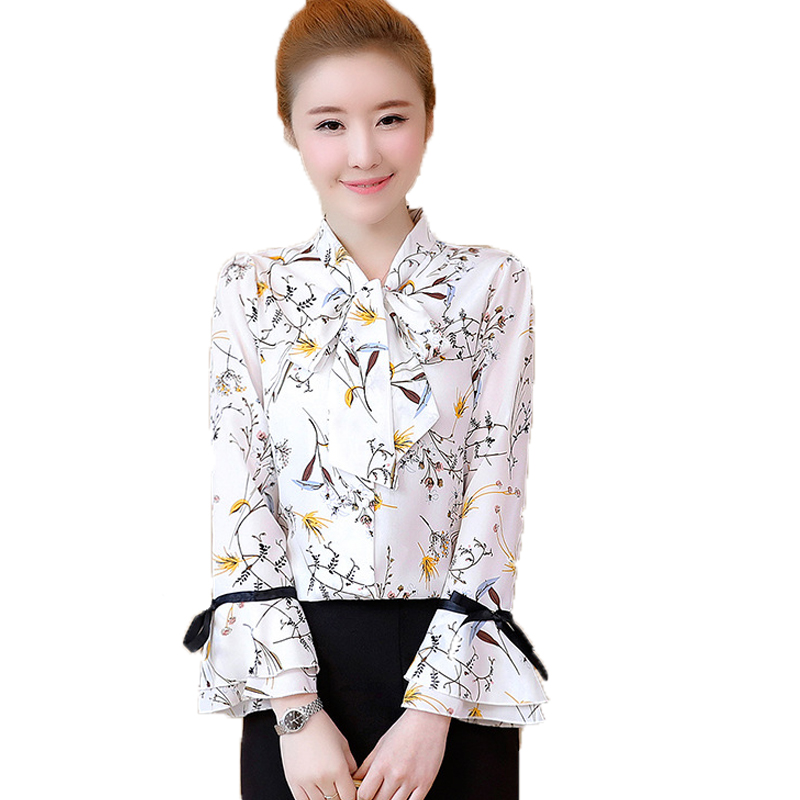 Chiffon Floral Blouse Bow Women's Shirt Top OL Flare Sleeve Shirt Lady Office Blusas 2018 Summer Fashion Blusas Chemise Femme