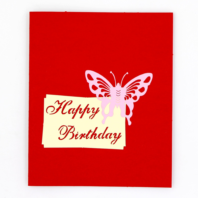 The Three Dimensional Origami 3D Birthday Wishes Cards Paper Cut Card Male And Female Friends Color Cake In Holder Note From