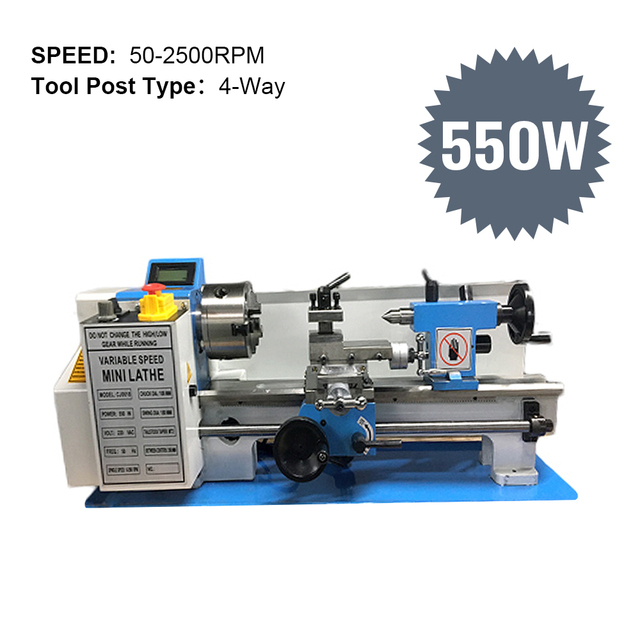 550W Mini CNC Lathe Machine Variable Speed 220V High-Precision DIY Brushless Turning Metal Lathe Machine CJ0618 & Free Gift