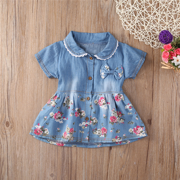 Denim Dress For Girl Baby 2018 New Summer Flower Princess Dress Party Wedding Pageant Dresses Clothes 1
