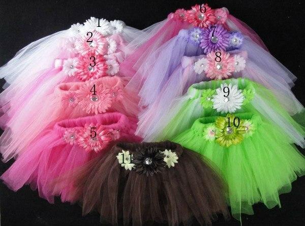 Barevné dívky Fluffy Tulle Tutu sukně Kids Handmade Layers Ballet Pettiskirt s Daisy Flowers Dětské party Tutus 30ks / lot