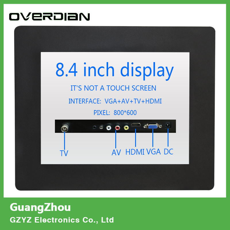 8/8.4 VGA/TV/AV/HDMI Interface Non-Touch Industrial Control LCD Monitor/Display Metal Shell Buckle Card Installation 4:3 10 4 10 vga dvi interface non touch industrial control lcd monitor display 1024 768 metal shell hanger card installation 4 3