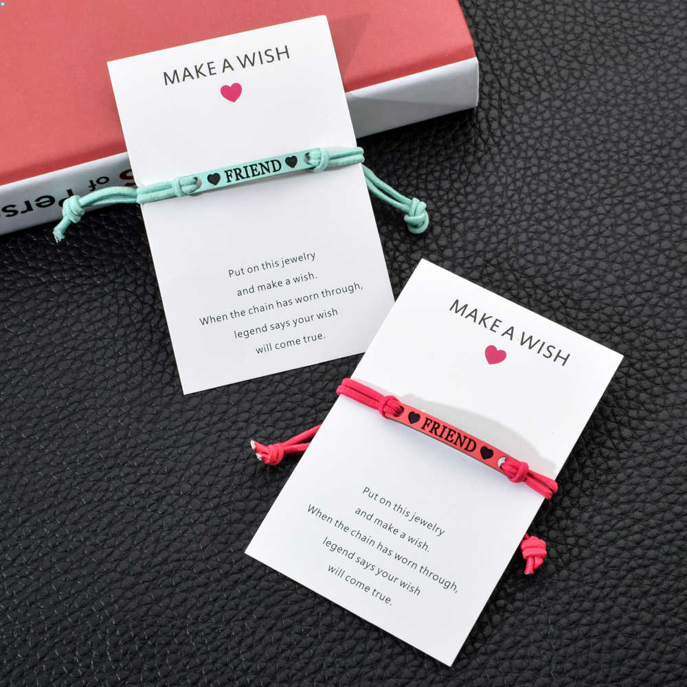 Make a Wish Card  Charms Bracelet Couple Braided Adjustable Elastic Rope Chain Handmade Bracelets for Women Best Friend Jewelry
