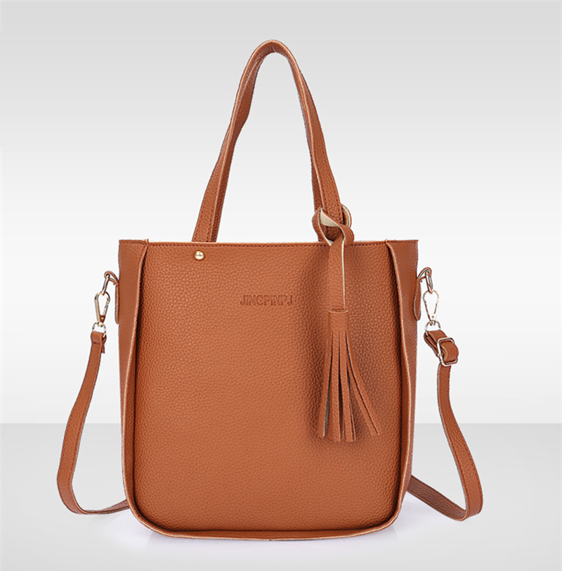 HTB17oLGXMoQMeJjy0Fpq6ATxpXab - Women Bag Set Top-Handle Big Capacity Female Tassel Handbag Fashion Shoulder Bag Purse Ladies PU Leather Crossbody Bag