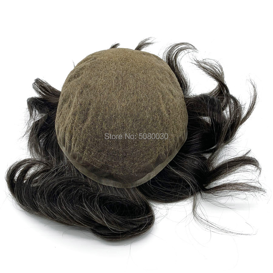 HRF Toupee Men Full Swiss Lace Base Size 8*10inch Mens Wigs Hair System Stock Human Remy Hair