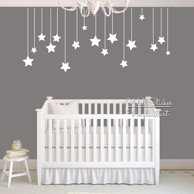 Star Wall Decal Star Vinyl Wall Decal 148 Silver Stars
