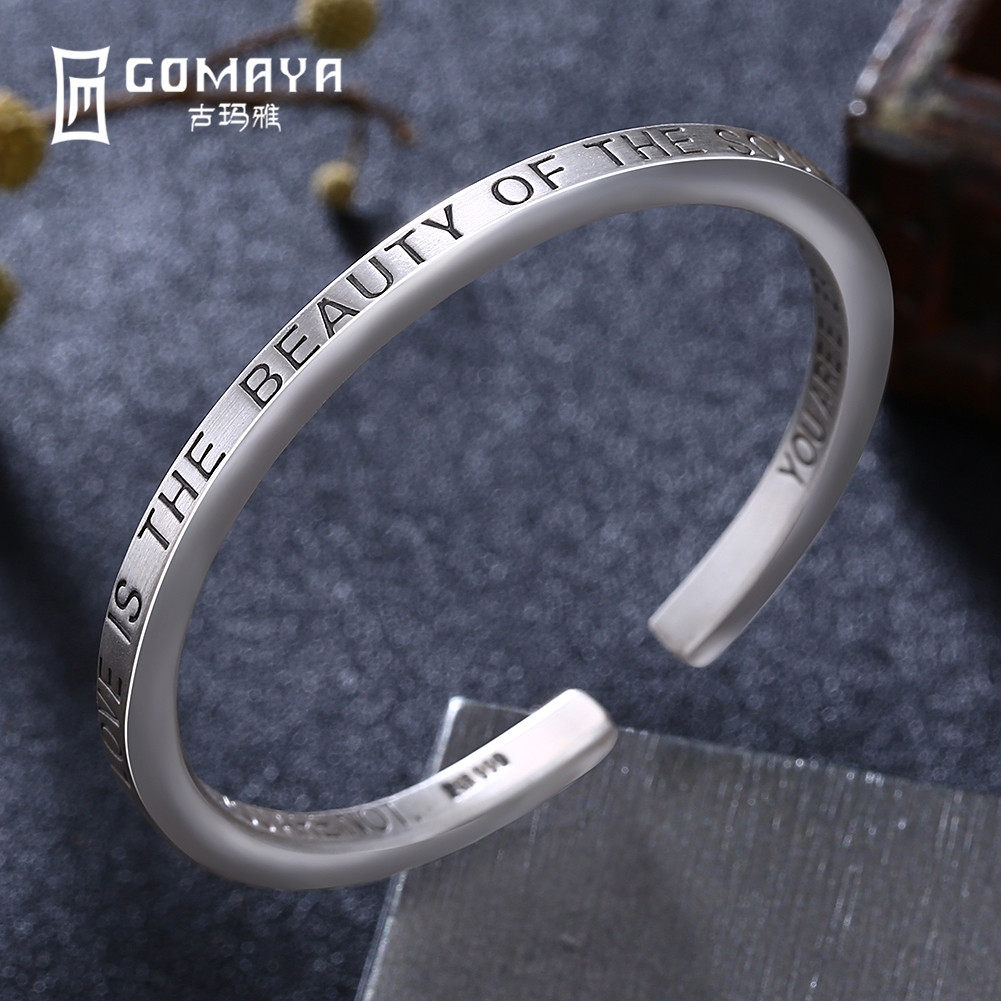 charming simple style wintersweet cuff ring for women GOMAYA 100% 999 Sterling Silver Simple Style Bangles for Women Classic Design Ladies Bangles Gift Adjustable Open Cuff Bracelets