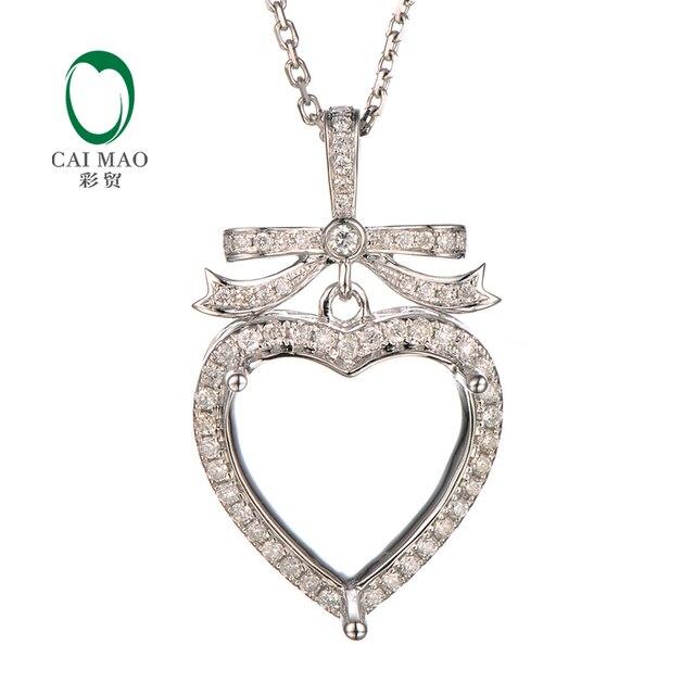 Caimao 13x13mm heart cut semi mount pendant settings 038 ct caimao 13x13mm heart cut semi mount pendant settings 038 ct diamond 14k white gold aloadofball Images